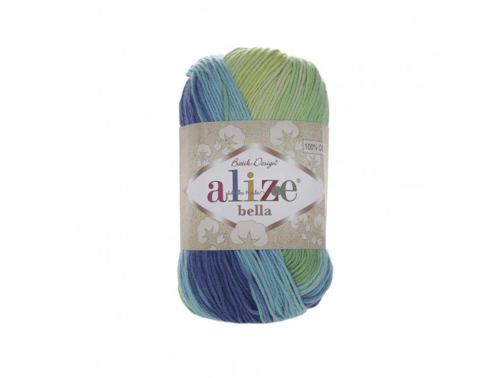 Příze Alize Bella batik 4150 modro-žluto-zelená