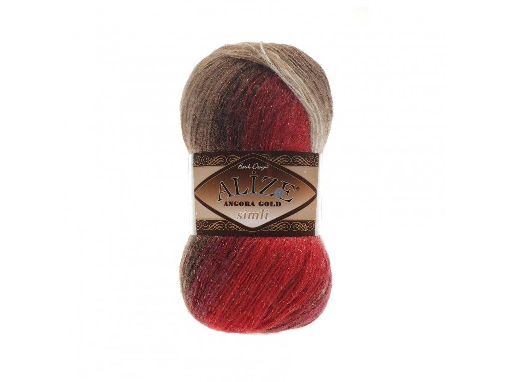 Angora gold simli batik 4574 červeno-hnědo-světlá