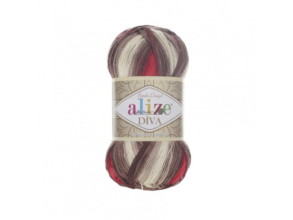 Příze Alize Diva batik 4574 červeno-béžovo-hnědá