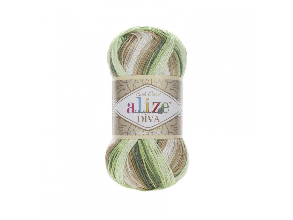 Příze Alize Diva batik 5944 zeleno-hnědo-béžová
