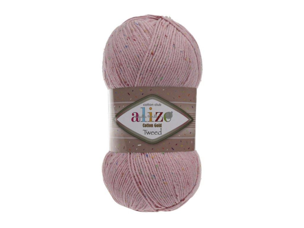 Alize Cotton gold tweed 371 pudrová růžová