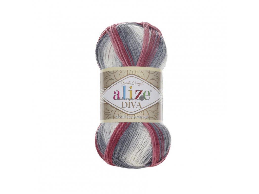 Příze Alize Diva batik 5740 vínovo-tm.šedo-bílá