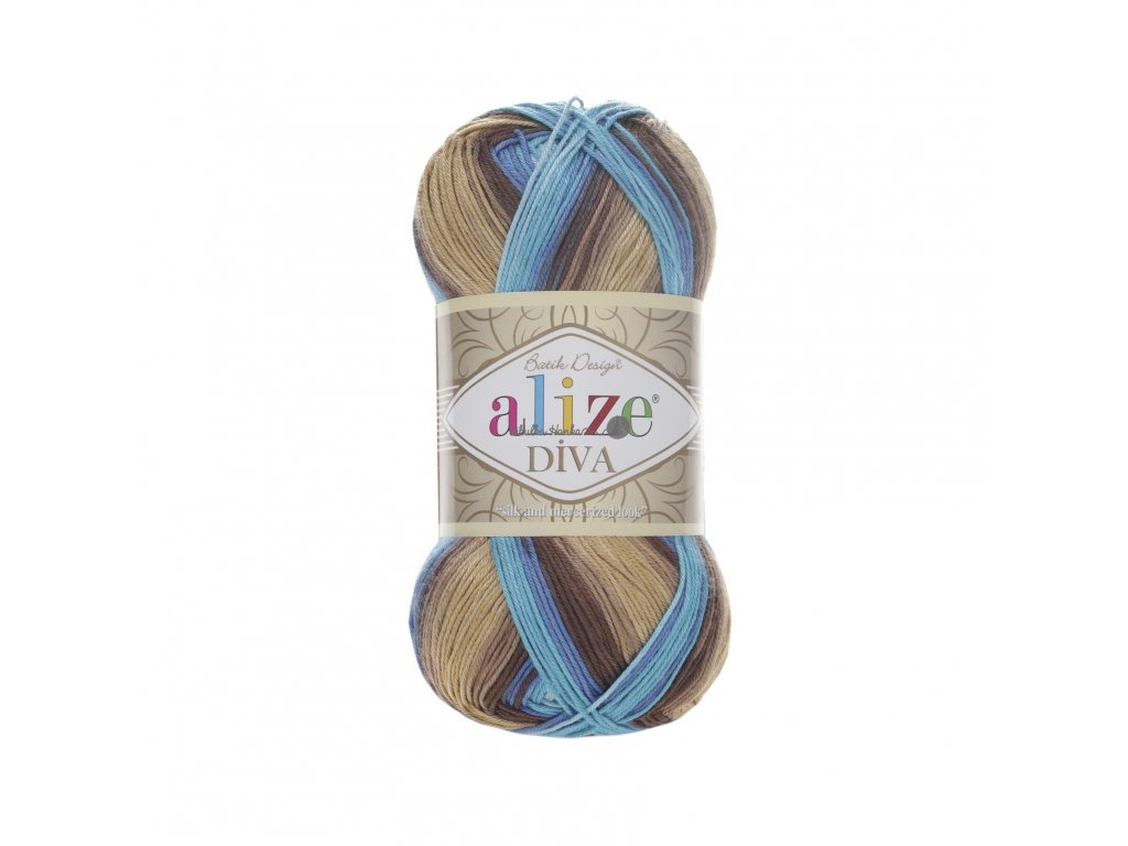 Příze Alize Diva batik 3243 tyrkysovo-hnědá