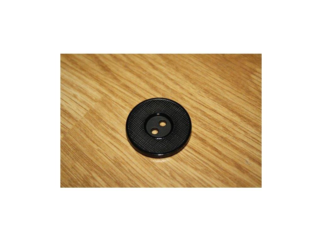Knoflík černý vroubkový 28mm