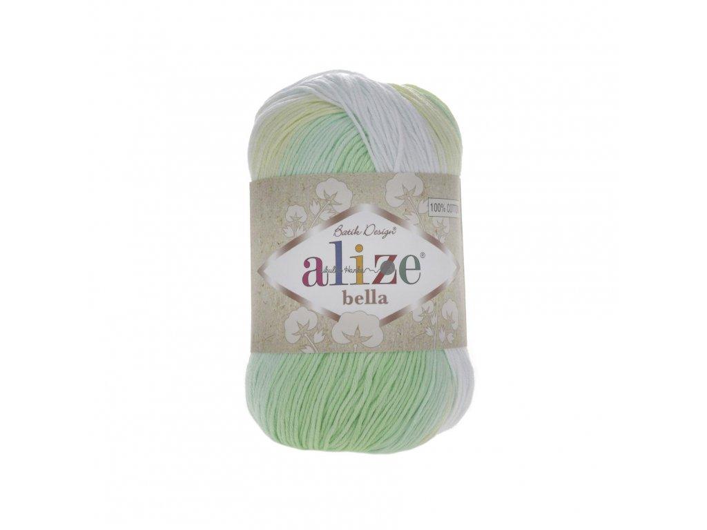 Alize Bella batik 100 - 2131 zeleno-žluto-bílá