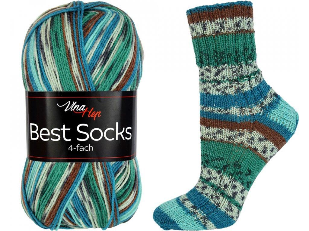Příze Best socks 7301 zeleno-modro-hnědo-světlá