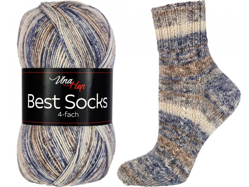 Příze Best socks 7319 béžovo-šedo-ocelová