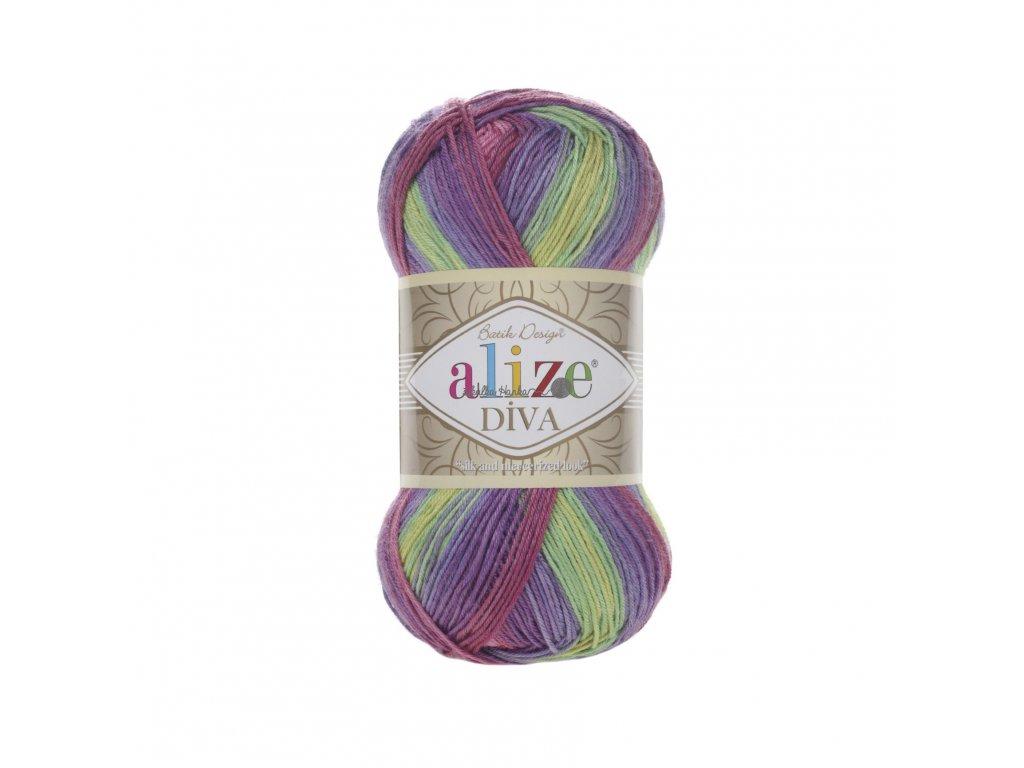 Příze Alize Diva batik 3241 fialovo-růžovo-barevná