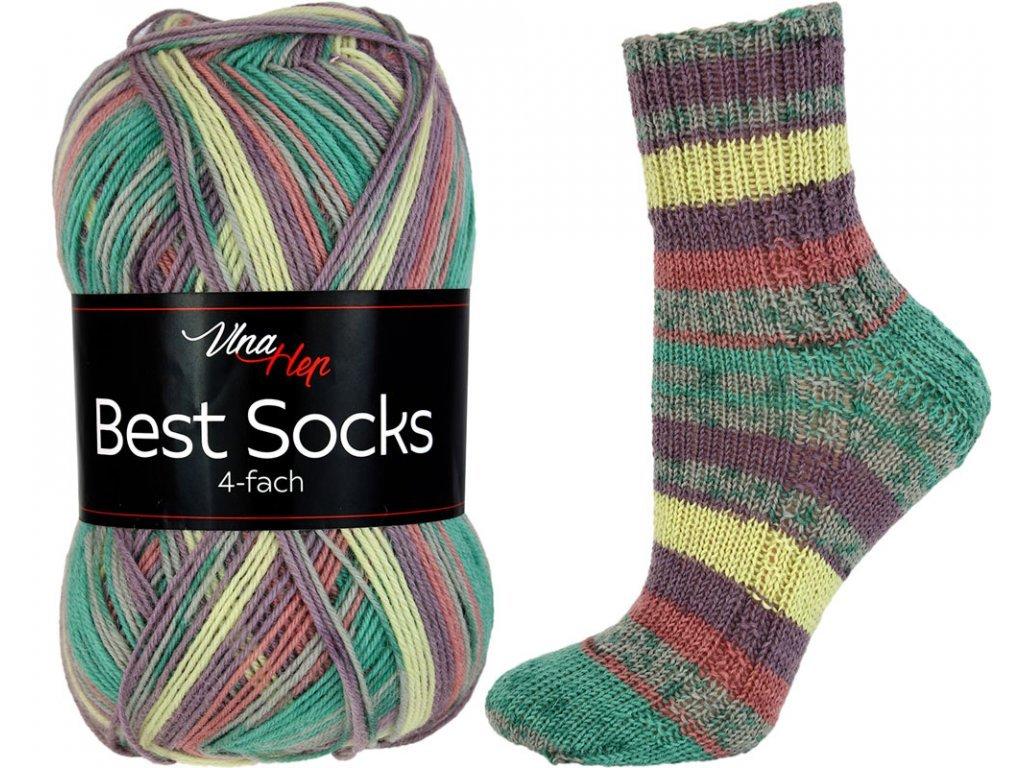 Příze Best socks 7317 zeleno-vínovo-žlutá