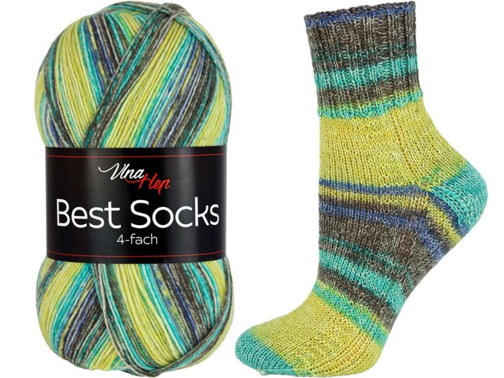 Příze Best socks 7320 žluto-zeleno-hnědá