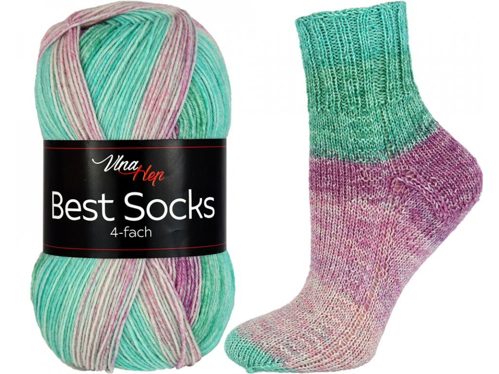 Příze Best socks 7326 tyrkysovo-vínová