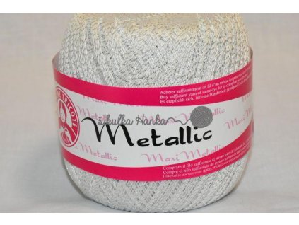 Příze MAXI metalic 1003 bílá+stříbrná