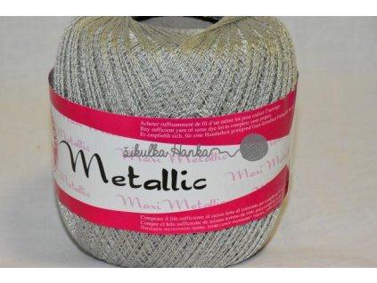Příze MAXI metalic 1621 šedá+stříbrná