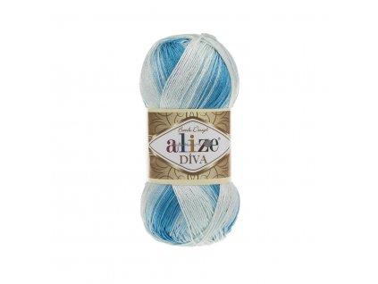 Příze Alize Diva batik 2130 modro-bílá