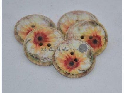 Knoflík slunečnice - plast