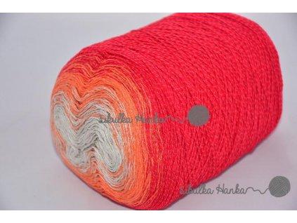 Příze Souffle 212 červeno-oranžovo-šedá