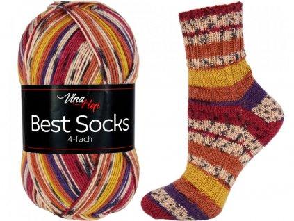 Příze Best socks 7328 vínovo-žluto-světlá