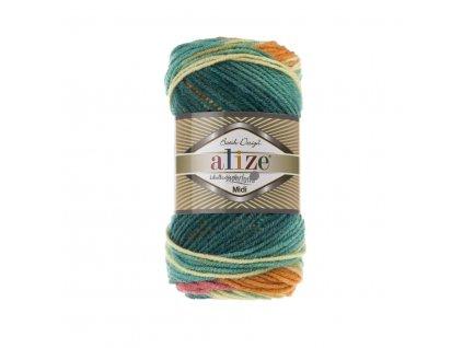 Superlana midi batik 4572 zeleno-oranžová