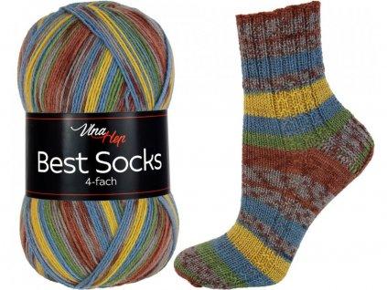 Příze Best socks 7307 hnědo-modro-okrová