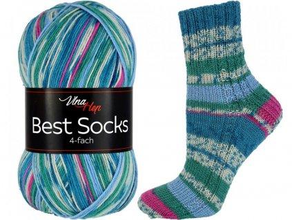 Příze Best socks 7310 modro-světle-růžová