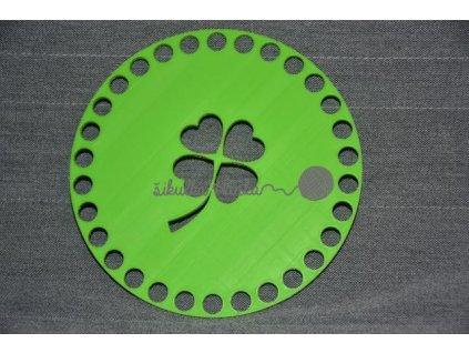 Víko/dno na košík 14,5cm - čtyřlístek jarní zelená