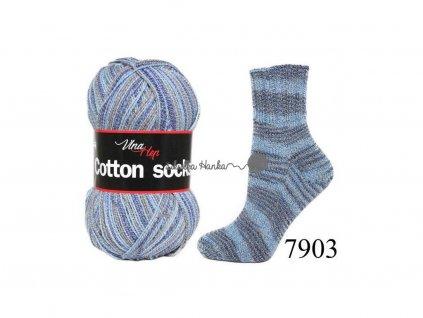 Příze Cotton socks 7903 šedo-modrá