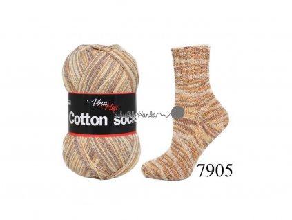 Příze Cotton socks 7905 hnědá