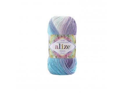 Alize Miss batik 3715 růžovo-zeleno-žlutá