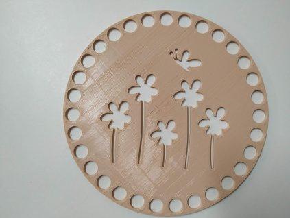 Víko/dno na košík 14,5cm - kytky s motýlem béžová