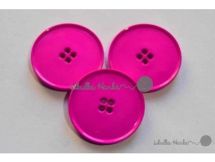 Knoflík 38mm zářivá růžová
