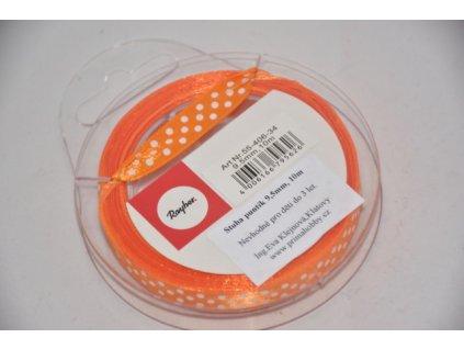 Stuha saténová s puntíkem 9,5mm oranžová