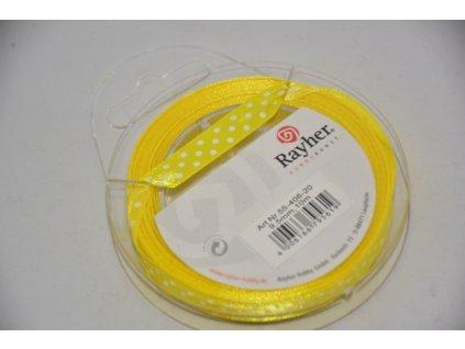 Stuha saténová s puntíkem 9,5mm žlutá