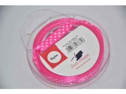 Stuha saténová s puntíkem 9,5mm růžová