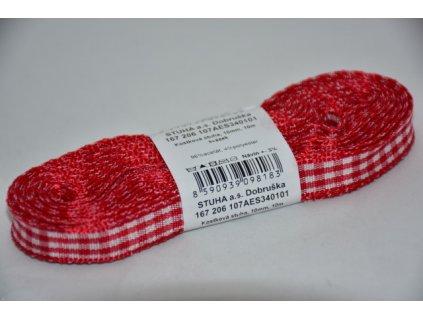 Stuha kostkovaná 10mm 101 červená