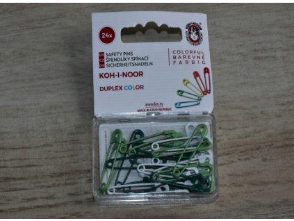 Špendlíky zavírací barevné zelený mix