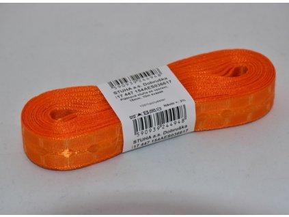Stuha plátnová se vzorem 15mm 617 oranžová
