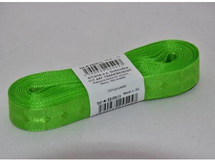 Stuha plátnová se vzorem 15mm 307 zelená