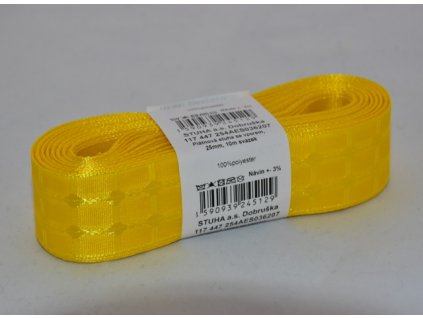 Stuha plátnová se vzorem 25mm 207 žlutá