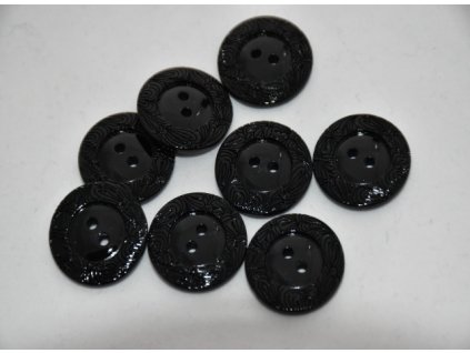Knoflík plastový vroubek černý 2cm