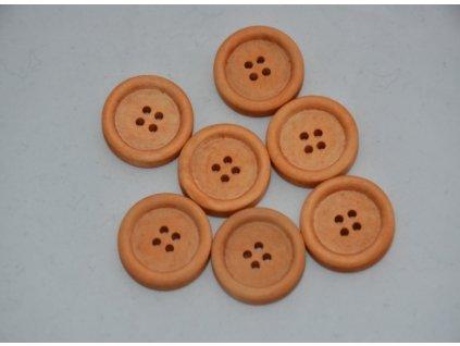 Knoflík dřevěný čtyřdírkový 25mm