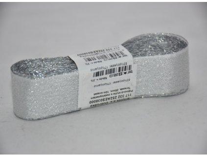 Stuha adjustační - torsade 25mm stříbrná