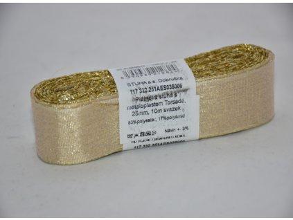 Stuha adjustační - torsade 25mm zlatá