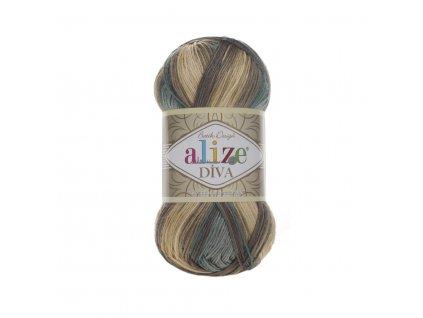 Příze Alize Diva batik 3307 khaki melír