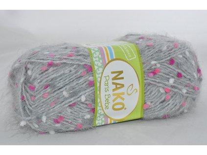 Příze Paris bebe 21325 šedá s růžovo-bílou