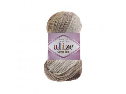 Alize Cotton gold batik 3300 hnědo-světlý melír