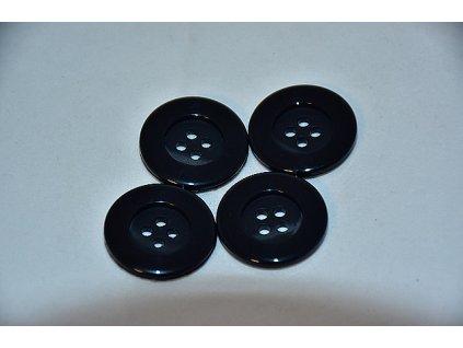 Knoflík plastový čtyřdírkový 23mm černý