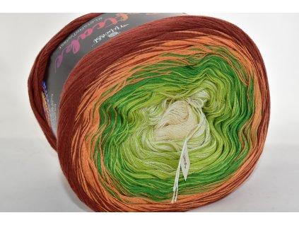 Soft cake yarn 20 hnědo-zelená