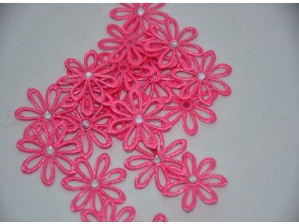 Aplikace kytička s kamínkem růžová