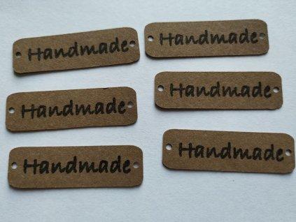 """Štítek z pratelného papíru """"Handmade"""" kávová"""