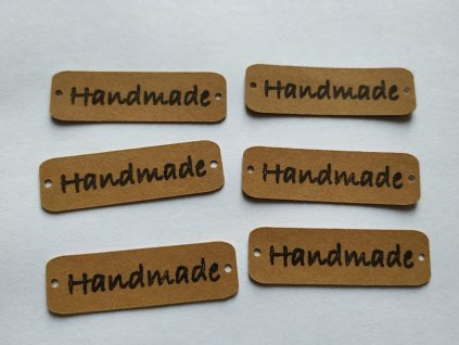 """Štítek z pratelného papíru """"Handmade"""" hnědá"""